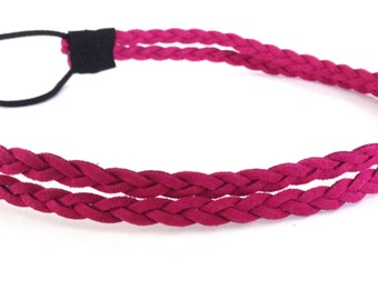 Dark Pink Double Strand Braided Rope Headband
