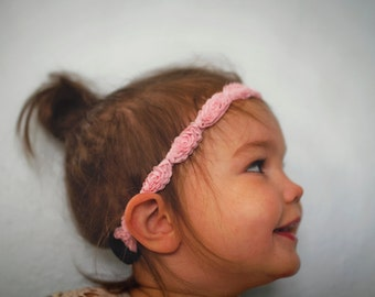 SALE // Child Baby Size Light Pink Rosette Headband