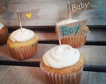 Set of 12-Burlap Flag Cupcake Toppers for Baby Shower-Custom Mix & Match-Shower/Newborn/Party-Folk/Rustic/Country/Minimalist