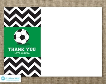 Chevron Soccer Thank You Note - Soccer Printable - Football Printable - Soccer Birthday Party - Sports Printable - Sports birthday