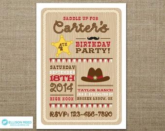 Cowboy Invitation - Cowboy Printable - Western Invitation - Cowboy Birthday - Western Birthday - Cowgirl Invitation - Cowgirl Birthday