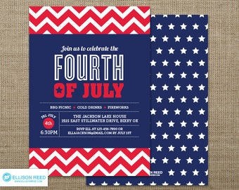 4th of July Invitation - BBQ invitation - Independence Day - chevron - Patriotic Invitation - 4th of july printable - Red White and Blue