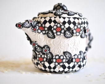 Black & White Teapot Planter with Red accents Polymer Clay