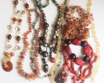 Good Quality Semi Precious Stone 5 Necklace Lot & Coral strands, 2 bracelets, Quartz, Carnelian, Amethyst, Agate, Art Glass, Destash Jewelry