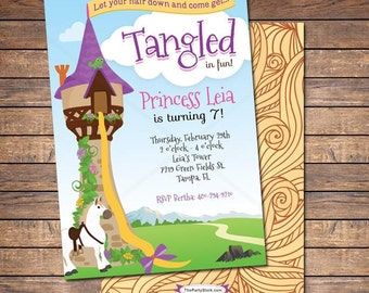 Tangled Birthday Invitation, Tangled Invitation, Rapunzel Invitation, Tangled Birthday Party Invitation, Rapunzel Birthday Invitations, DIY