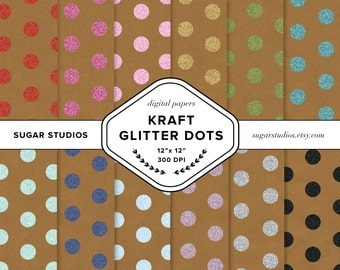 Kraft Paper with Glitter Dots 12 Piece Digital Scrapbook Paper Pack - Personal and Commercial Use