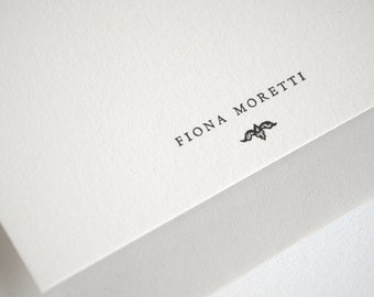 Personalized Letterpress Stationery Set - Flat Note Cards - Gray and White - Rialto