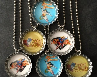 Visit my shop for more super hero party favors /  Retro Girl Super Hero Bottle Cap Party favors (6) / add more for 2 dollars each