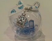1 Acrylic Ball Filled with Baby Shower Charms Gift Topper or Tree Ornament Blue Its a boy
