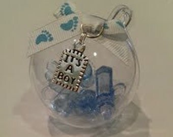 1 Acrylic Ball  with Baby Shower Charms Sealed Inside Gift Topper or Tree Ornament Blue Its a boy