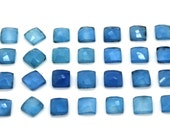 GCF-1249 - Blue Chalcedony Faceted Cabochon - 8x8mm Square - Gemstone Cabochon - AA Quality - 1 Pc