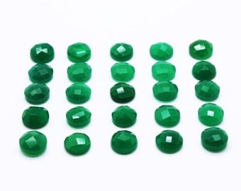 GCF-1028 - Green Onyx Cabochon - Round 10mm - Gemstone Cabochon - Faceted Cabochon - 1 Pc