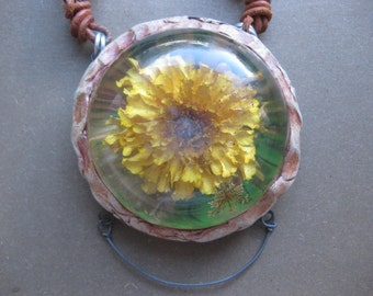 Resin Flower Necklace - Vintage Beads, Leather, Recycled