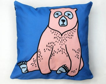 Pink Bear Cushion Cover