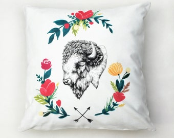 Floral Bison Cushion Cover