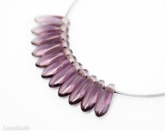 Amethyst Daggers 10mm (50) Czech Glass Beads Purple Teardrop Fang Spike last