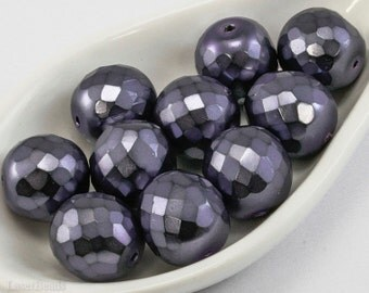 Purple Czech Fire Polished Beads 14mm (8) Large Carmen Polish Faceted Glass Round Big