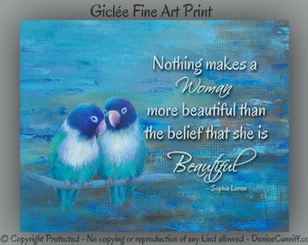 Lovebirds wall art print, Blue abstract, Master bedroom decor, Art gift for wife, Quote saying, Navy teal brown, Sophia Loren, Romantic