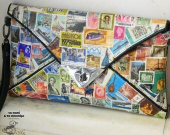 Postage Stamps  Clutch Envelope Bag, Handmade Vintage  Purse, Original Used Postage Stamps Art   - Faux Leather - Vintage Stamps