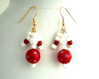 Red & White Earrings Polka Dot Handmade Chic Dangle Earrings Cool Gifts for Her Fun Gifts for Girlfriend