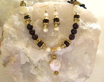 Gorgeous Ornate Faceted Garnet Necklace Freshwater Pearls  Agate Jewelry Statement Necklace Unique Gift for Her Christmas Gift ON SALE