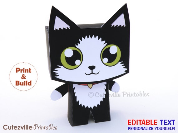 Kitten / Cat, Favor, Candy, Gift Box (Black) - Editable Text Printable PDF - INSTANT DOWNLOAD