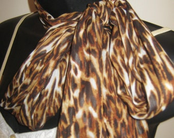 Brown Leopard Print Chiffon Scarf  Handmade in BC Canada. Great Gift for moms, sisters, friends, daughters.  Bring out the animal in you!