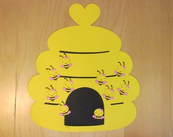 Pin the bee in the Hive game,  bees and hive die cuts, bee embellishments
