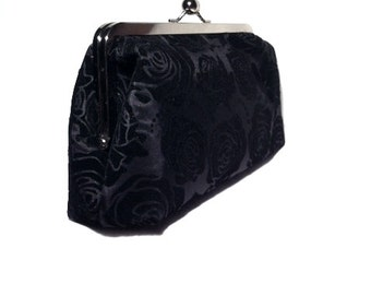 Black Tafetta - Rose Prints Clutch, 9 X 5 X 2.5
