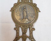 French Vintage Art Deco Framed medal Our Lady Of Lourdes signed YC circa 1925 w856