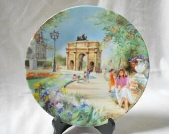 """French Vintage Collectible Limoges Porcelain Plate """"Le Jardin des Tuileries et le Louvre"""" Jean-Claude Guidou 1988 (A910)"""