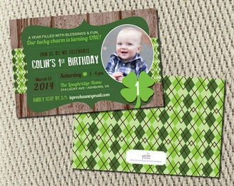 Little Lucky Clover Shamrock Two-Sided Birthday Invitation: Set of 25 5x7