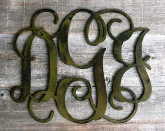 Vine Monogram Personalized Initials Bronze Plated Letters Custom Cut from 1/8 inch Steel Plate 14 to 24 Inch