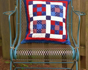 Red White and Blue American Reversible Pillow Cover