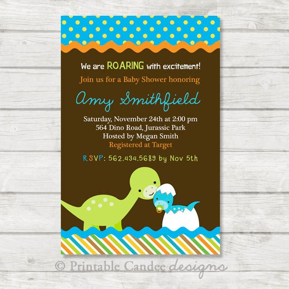 Comprehensive image with free printable dinosaur baby shower invitations
