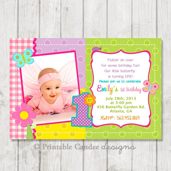 Butterfly 1st Birthday Invitation Butterfly By Printablecandee