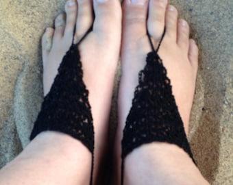 Sandals, Barefoot Sandals, Womens Black Crochet Barefoot Sandals Style 6