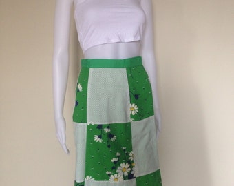 Vintage 70s patchwork, reversible Wrap around Skirt