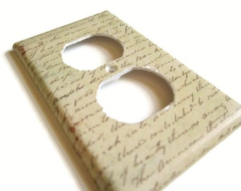 Outlet Cover - Switch Plate - Script, Cursive Writing