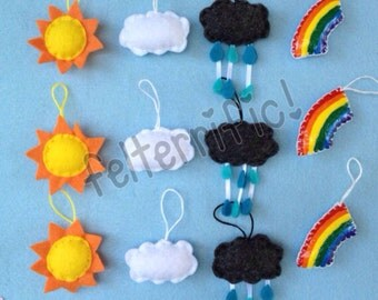 1 Dozen Handmade Felt Mini Rainy Day Ornaments