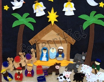 Handmade Felt  Nativity Advent Christmas Countdown Calendar