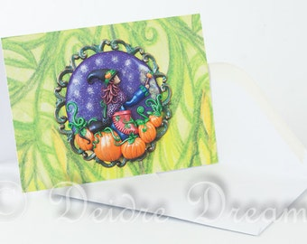Witch Card, Pumpkins Card, Halloween Card, Greeting Card, Greetings Card, Fall Card, Thanksgiving Card, Pumpkin Decor, Halloween Decor