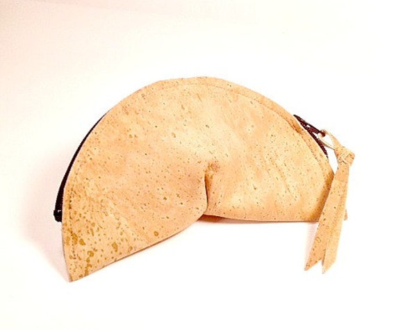 Items similar to Change Purse, Cork Leather Fortune Cookie Change ...