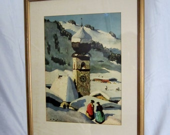 Holy Cross Parish Church Kitzbuhel Austria Church February 1951 Vintage Frame Ready to Hang Austria Retro Gold Frame Matted Mid Century Art