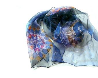 Blue Silk scarf Moon and Mandalas Chiffon scarf