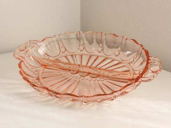 Oyster & Pearl Pink Divided Relish Dish by Anchor Hocking
