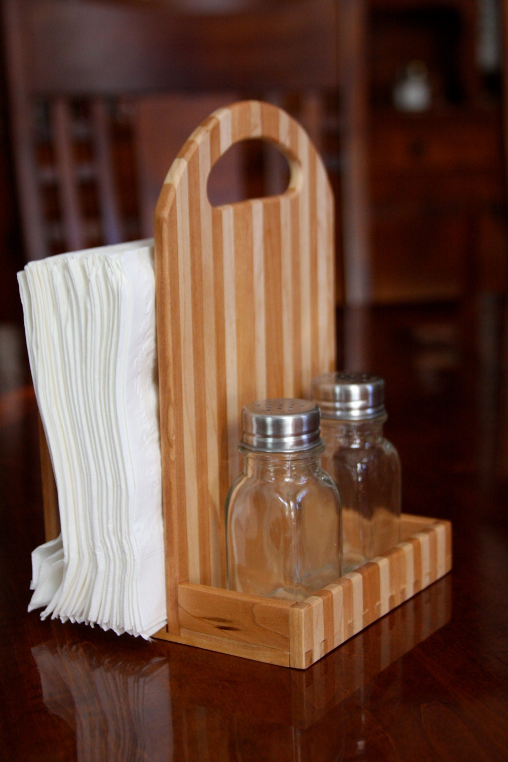 Wooden Napkin Holder And Salt And Pepper Caddy Made Out Of