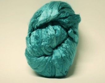 Hand Painted Dyed Silk Roving Top Pure Mulberry Cultivated Malachite 7, 8