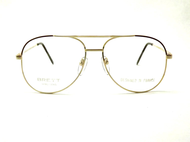 Aviator Eyeglasses Frame : Mens Aviator Eyeglasses, Vintage Matte Gold Metal and ...