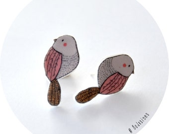 Bird Post Earrings - pink